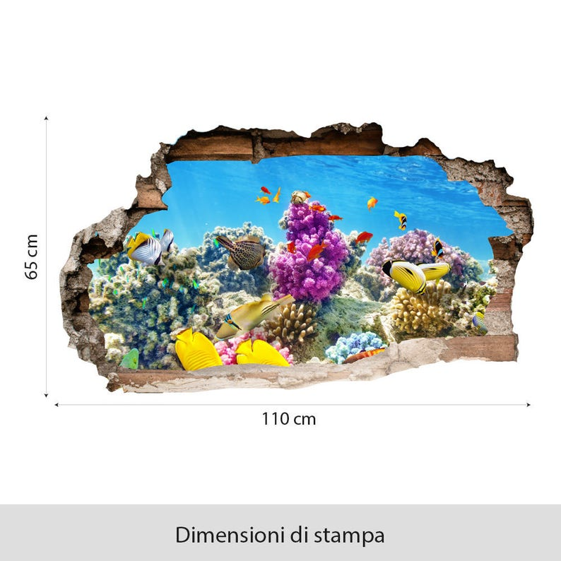 3DA0016 3D Aquarium 3D 3D effect wall sticker printed on wallpaper