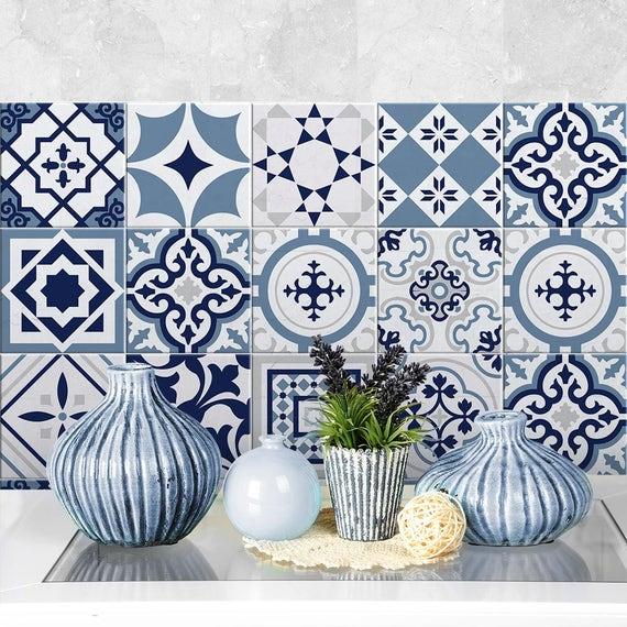 Ps00099 fes blu adesivi in pvc per piastrelle per etsy - Piastrelle in pvc per bagno ...