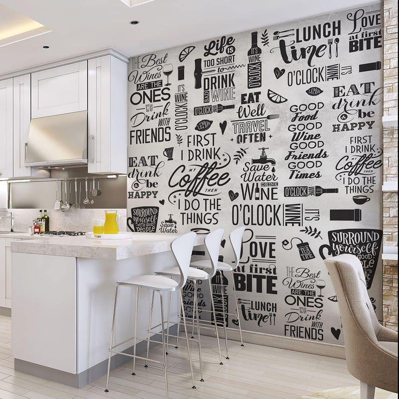 Cp0190 Wallpaper Aphorisms Kitchen Adhesive Etsy