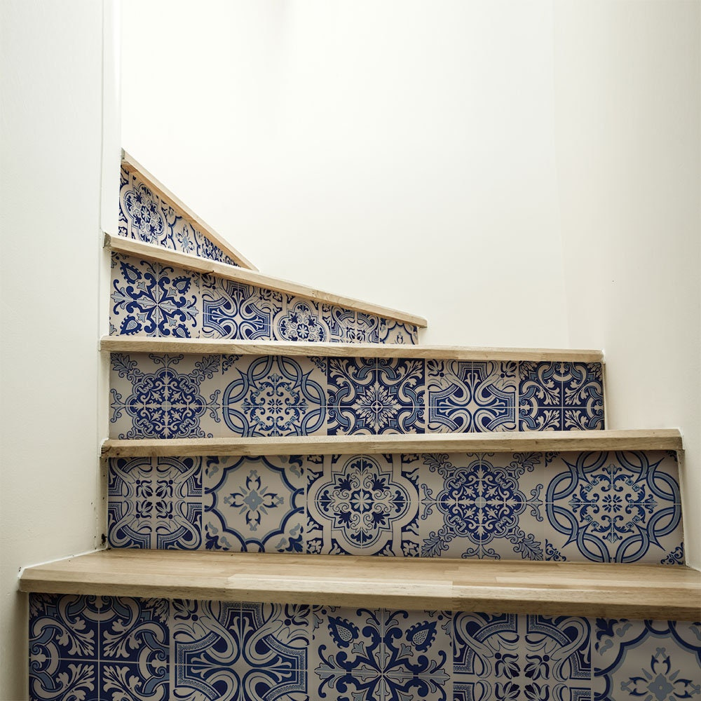 """Piastrelle Pvc Adesive Cucina ds00031 """"stairs praiano"""" adhesive pvc decoration for wear-resistant,  washable and scratch-resistant stairs, wall stickers"""