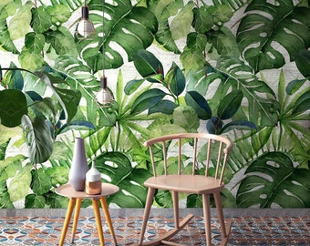 """CP0261 """"Jungle leaves card"""" Adhesive Wallpaper, Fabric effect - Very High Print Resolution - Wall stickers"""