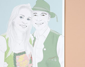 Personalized portrait for couples, drawing as download