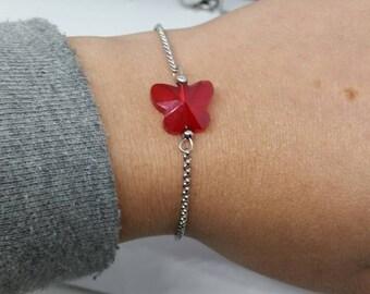 Bracelet, crystal butterfly, for her, gift