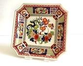 Vintage Japanese Imari Plate Designed by Seymour Mann, 1960 39 s, Japanese Porcelain, Square Serving Plate, Floral Design with Gold Trim