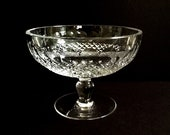 Vintage Waterford Crystal Colleen Compote Dish with Ball Stem, Cut Cross Hatch Cuts, Crystal Serving, Couple 39 s Gift