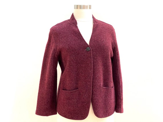 Eileen Fisher Burgundy Stand Up Collar Blazer, One