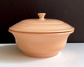 Vintage HLC Fiesta Apricot 2 Qt Round Covered Casserole, Fiesta Rose Serving Bowl with Lid, Retro Kitchen