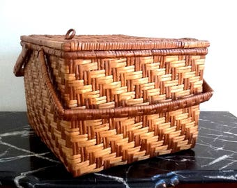 Mid Century Large Woven Wicker Basket with 2 Handles, Natural & Brown Woven Wicker, Picnic, Sewing or Storage Basket