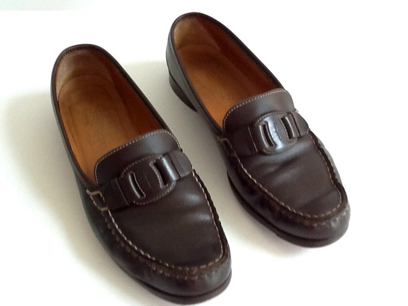 7dd25da530 Vintage Ferragamo Women s Brown Leather Loafers Dark