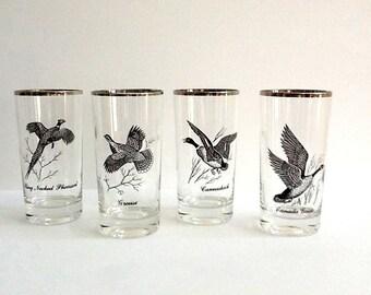 Mid Century Federal Platinum Trimmed Tumblers, Set of 4, 12 Ounce Tumblers, Sportsman Pattern, Black Motif of Flying Birds, Retro Barware