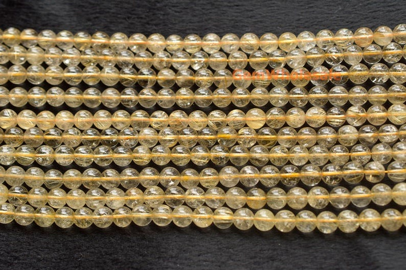 15.5 Natural golden rutilated quartz 8mm round beads,golden color semi-precious stone gemstone wholesale,natural crystal beads