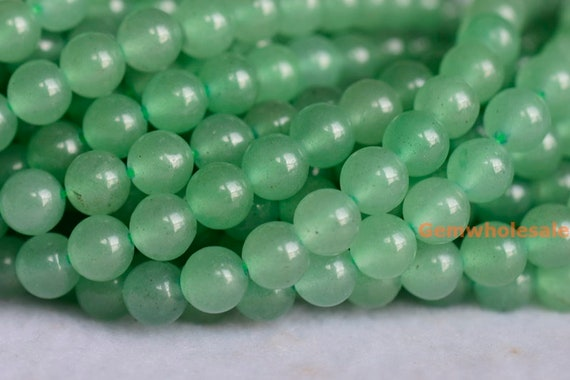 4MM GREEN AVENTURINE GEMSTONE GREEN FACETED ROUND 4MM  LOOSE BEADS 15.5/""