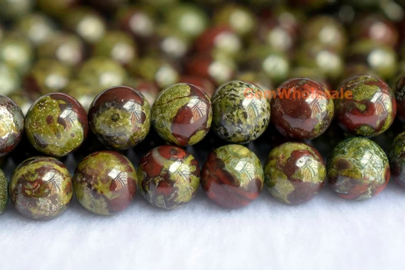 15.5 8mm/10mm Dragon blood Jasper round beads image 0