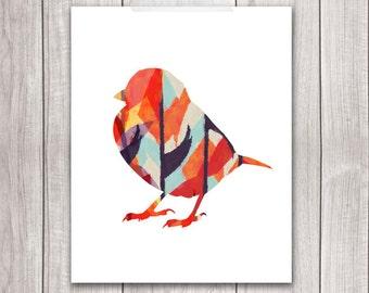 Bird Art Print - 8x10 Sparrow Art, Sparrow Print, Bird Artwork, Bird Print, Printable Wall Art