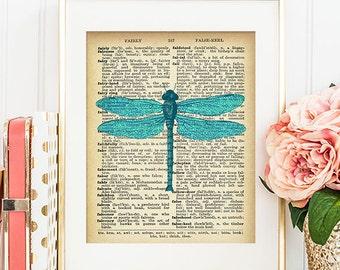 Libelle-Kunst - 8 x 10 Wörterbuch, drucken, Wörterbuch, Wand-Kunst-Libelle, Libelle Druck Libelle Wörterbuch