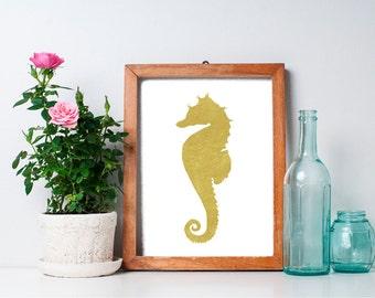 Seahorse Print - 8x10 Seahorse Art, Ocean Animals, Beach Art Print, Gold Print, Nautical Art Print, Ocean Art