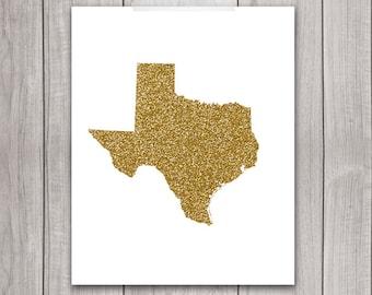 Texas Art - 8x10 Gold Glitter, Texas State, Art Print, Texas Printable Art, State Silhouette, Glitter Print, Wall Art