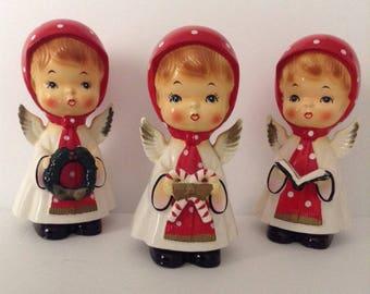 Cute Vintage Trio Of Christmas Angel Figurines