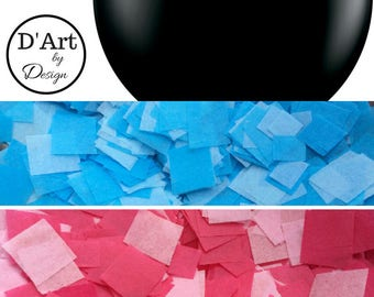 """Gender Reveal Balloon 36"""" - Black balloon filled with Pink or Blue confetti"""