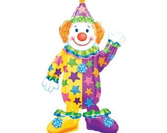 "44"" Clown Foil Balloon- Full Body - circus, carnival themed birthday party"