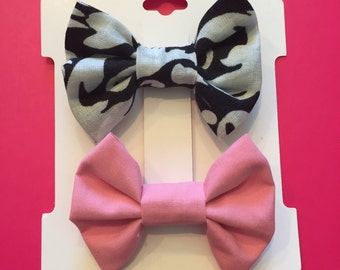 Black & White Bow and Pink Bow Set