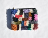 Hand-knotted clutch carpet weaving pouch wool cotton fuzzy rug bag colorfull orange yellow red pink black white blue green abstract purse