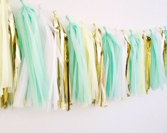 Gold and mint tassels garland