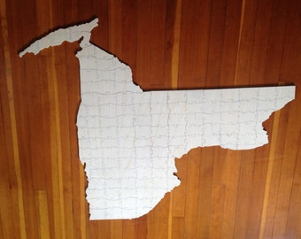 Hand Made Wooden Wedding Guestbook Puzzle Custom State or Shape Design Your Own