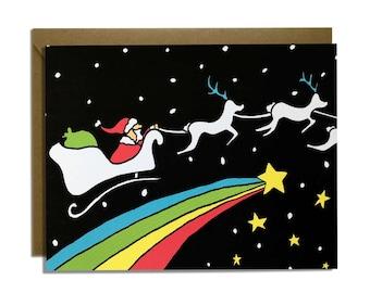 Funny Christmas Card - Holiday Cards, Space Santa, Rainbows, Stars, Sled, Magical