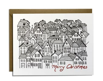 Christmas Card - Holiday Cards, Christmas Village, Sketched, Europe, Church, Merry Christmas