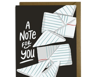 Note for You Card -  Sweet thinking of you card, friendship, Co Worker, Teacher, 80s, 90s high school notes