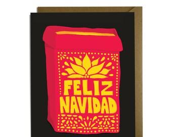 Feliz Navidad - Luminaria Papel Picado Christmas Card