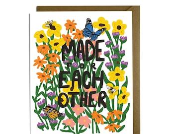 Wedding Card - pollinators, bees, butterflies, garden, flowers
