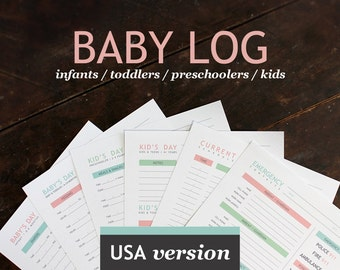 Printable Baby & Nanny Log - Baby's Day - Printable daily log for childcare nannies and baby-sitters