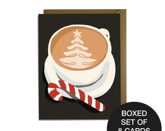 Christmas Latte - Sweet holiday card BOXED SET OF 8