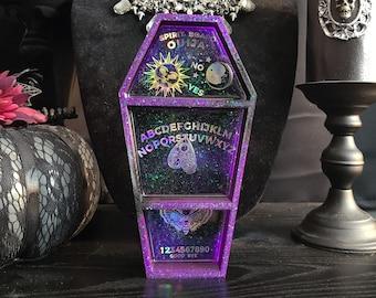 Purple & Black Ouija Coffin Shelf