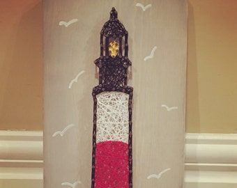MADE TO ORDER Lighthouse String Art Sign