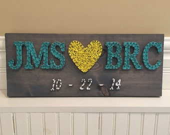 MADE TO ORDER Initials Love Heart String Art Sign