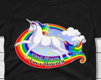 Bitch Please I'm a Unicorn T-Shirt - Funny Unicorn Adult T-Shirt - Rainbows and Unicorns - Ladies and Mens Sizes