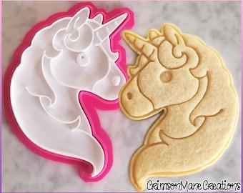 Unicorn Cookie Cutter - Cute Kawaii - Unicorn Head - Emoji - Ceramics and Pottery - 3D Printed - Biscuit Baking Supplies - Fondant Tool