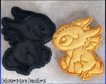 Black Baby Dragon Cookie Cutter - Cute Chibi Dragon - Ceramics and Pottery - 3D Printed - Fondant Tool - Fantasy - Biscuit Baking Supplies