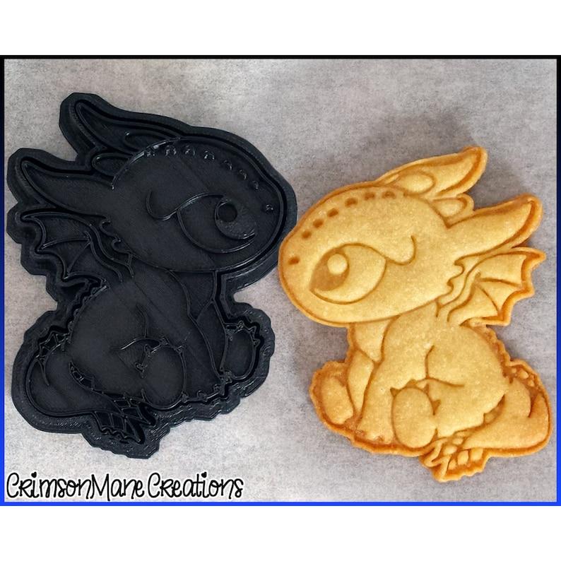 Black Baby Dragon Cookie Cutter  Cute Chibi Dragon  Ceramics image 0