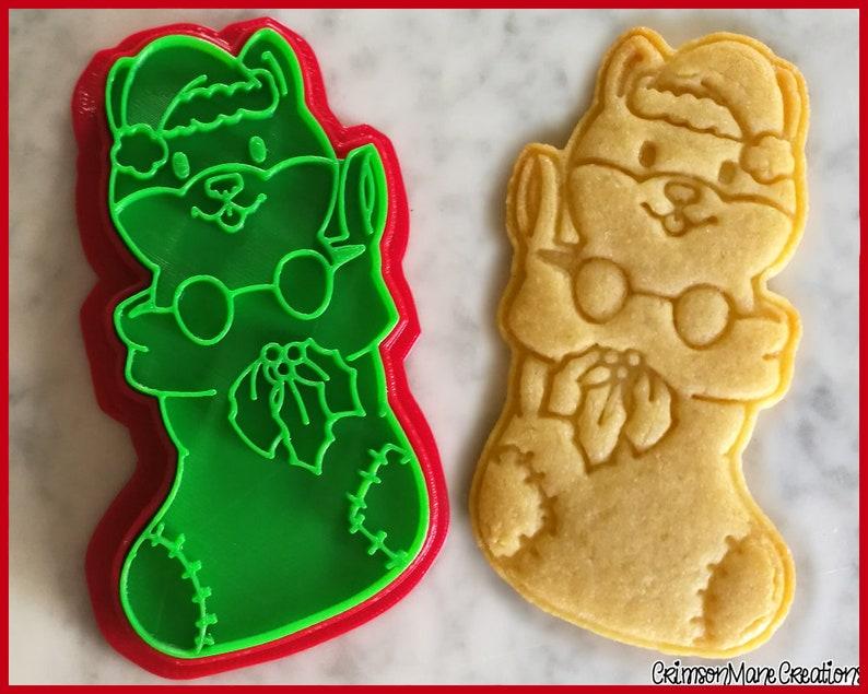 Shiba Inu Doge Stocking Christmas Cookie Cutter Doggo Meme Kawaii Cute Ceramics Pottery 3d Printed Fondant Tool Baking Supplies