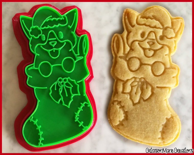 Corgi Dog Stocking Christmas Cookie Cutter Cute Xmas Puppy Ceramics And Pottery 3d Printed Fondant Tool Biscuit Baking Supplies
