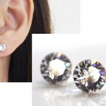 Crystal Swarovski Invisible Clip On Earrings Non Pierced Earrings Swarovski Clip On Stud Earrings Bridal Clip Earrings Wedding Clip-on
