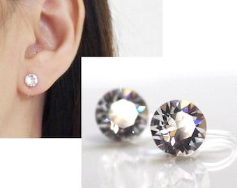 Swarovski Crystal clip on earrings Swarovski wedding invisible clip on stud earrings non pierced earrings bridal clip-on earrings
