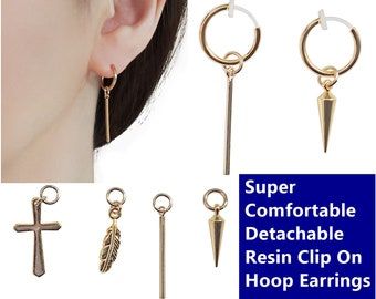 3d272c59d Comfortable Clip On Hoop Earrings, Men's Gold Clip On Earrings, Fake  Earrings, Stick Spike Cross Feather Invisible Clip On Earrings Dangle