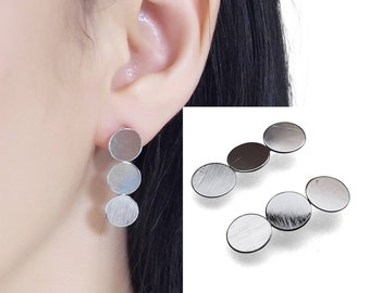 Coin clip on earrings,silver invisible clip on earrings,non pierced earrings,stud clip on earrings,comfortable clip on stud earrings
