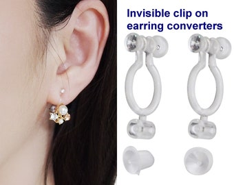 2 pairs super comfortable invisible clip on earring converters, Japanese crystal clip on earrings findings, change pierced to clip earrings