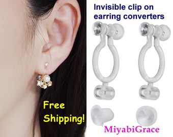 de4d1cf0f Super Comfortable Invisible Clip On Earring Converters, Japanese Popular  Crystal Clip On Earrings Findings, Change Pierced to Clip Earrings